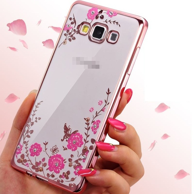 new concept a261c f745c US $2.99 30% OFF|Case For Samsung Galaxy J1 J2 J3 J5 J7 2015 2016 J5 J7  Prime Cover Bling Diamond TPU Soft Flower jelly Electroplate Casing  funda-in ...