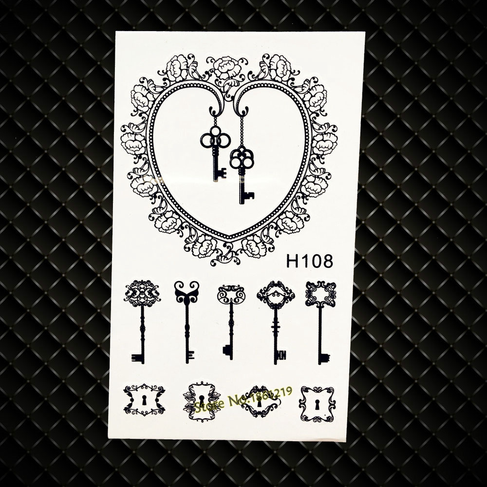 Henna Heart Love Keys Waterproof Black Temporary Tattoo Fake Flash Tattoo Stickers GH108 Lace Key Tattoo Body Arm Jewel Sticker