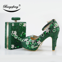 BaoYaFang New Luxury Green Crstal shoe woman 11cm Thick heel Ladies Party shoes and bags Ankle strap Buckle Fashion Wedding shoe