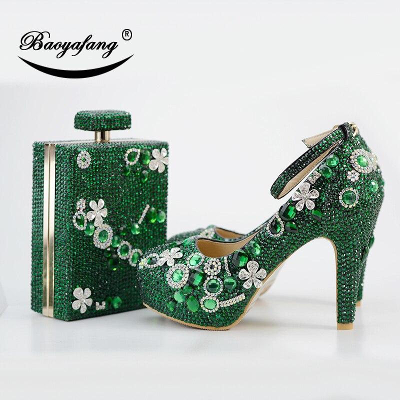 BaoYaFang nowy luksusowy ekologiczny Crstal buty kobieta 11 cm gruby obcas panie Party buty i torby kostki pasek klamra moda buty ślubne w Buty damskie na słupku od Buty na  Grupa 1