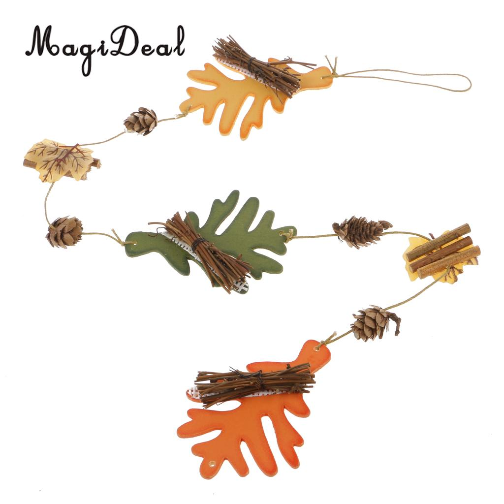 MagiDeal Christmas Tree Hanging Craft Pine Cone Wood Leaf Shape String Decoration for Xmas Gift ...