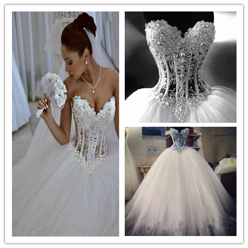 8e3dc19d5a21 Luxurious Bling Strapless Wedding dresses Corset Bodice Sheer Bridal Ball  Crystal Pearl Beads Rhinestones Tulle Wedding Gowns