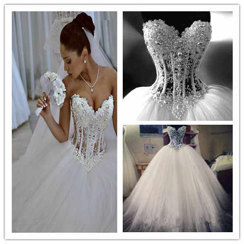 e22010dccc Luxurious Bling Strapless Wedding dresses Corset Bodice Sheer Bridal Ball  Crystal Pearl Beads Rhinestones Tulle Wedding Gowns