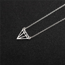 10PCS- N050 Gold Silver Flat Triangle Necklace Dainty Cut Out Subulate Necklaces Geometric polygon Layering Triangle Necklace stylish cut out triangle lariat necklace