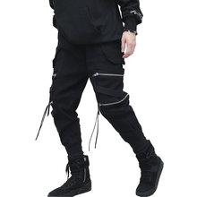 2019 Hip Hop Pants Streetwear Joggers Men Black Zippers Ribbon Harem Pants Cotton Casual Slim Sweatpants Men drop shipping LBZ57