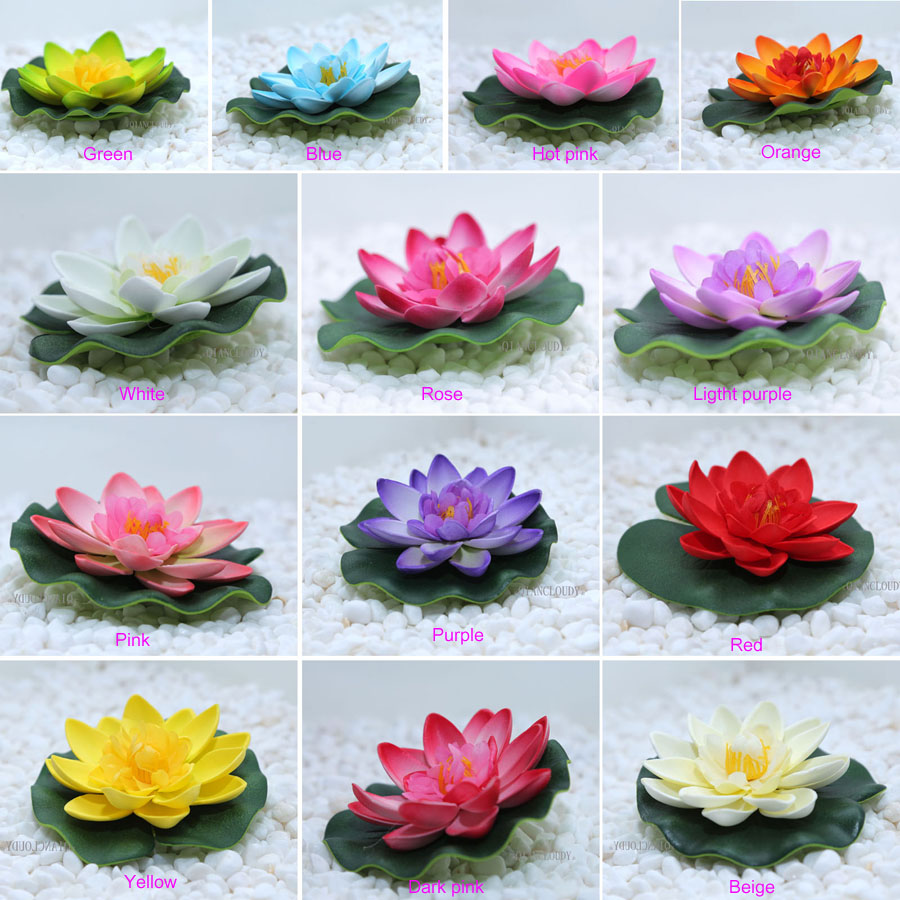 Retail Artificial fake Lotus flowers leaf Pond flower Water Lily Floating Pool fish tank flores Plants Wedding Decoration B98(China)