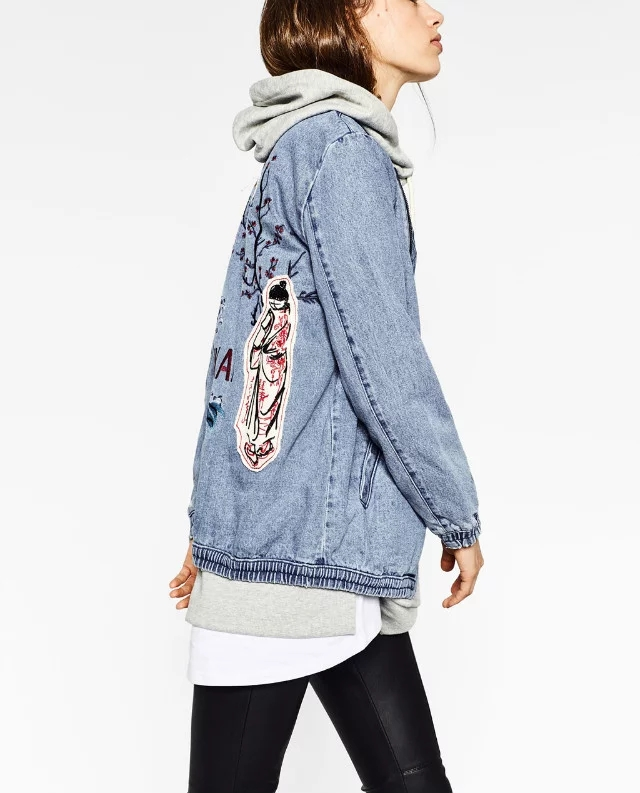 ZA New Arrival Destroyer Embroidery Letters Jeans Loose BF Bs