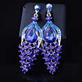 FARLENA JEWELRY Unique peacock shape drop Earring with Crystal Rhinestones Fashion Wedding Earrings for Women long
