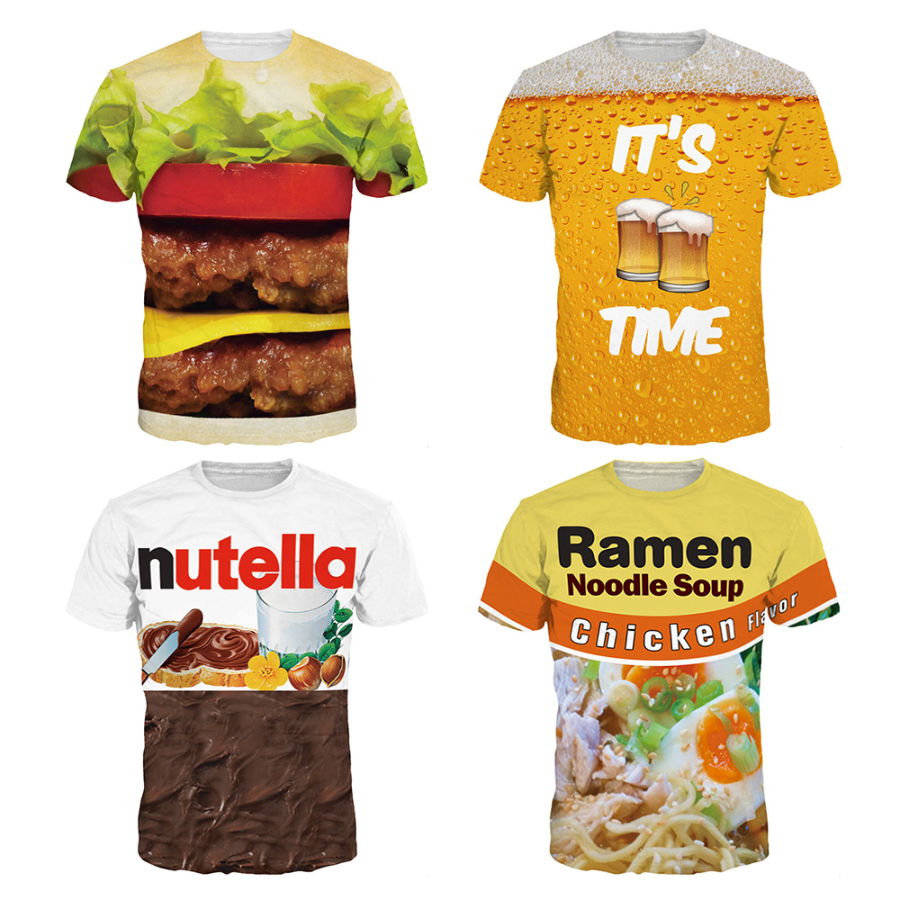 2018 Summer Ramen Nutella Hamburger Big Mac beer 3D Printed Unisex Fitness Short Sleeve  ...