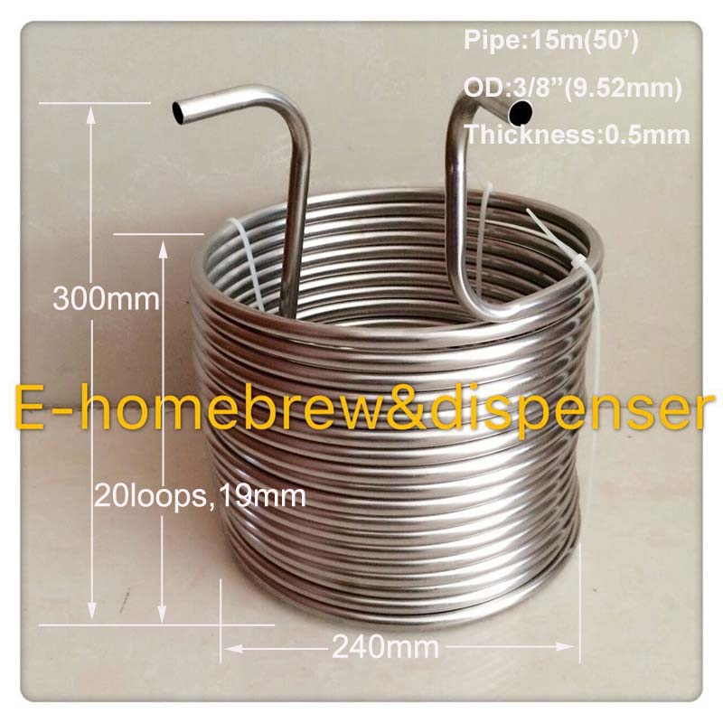 3 8 x 50 Wort Chiller food grade 304 stainless steel Beer Cooling Coil or Malt