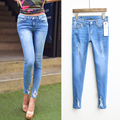 2017 new arrival slim distrressed trousers hole jeans female skinny pants pencil pants female #6539