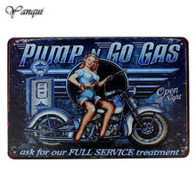 Pump Go Gas Pin up Lady Wall Decor Metal Sign Gas Oil Motorcycle Full Service Retro Plaque Vintage Garage Poster 20x30cm YQZ069(China)