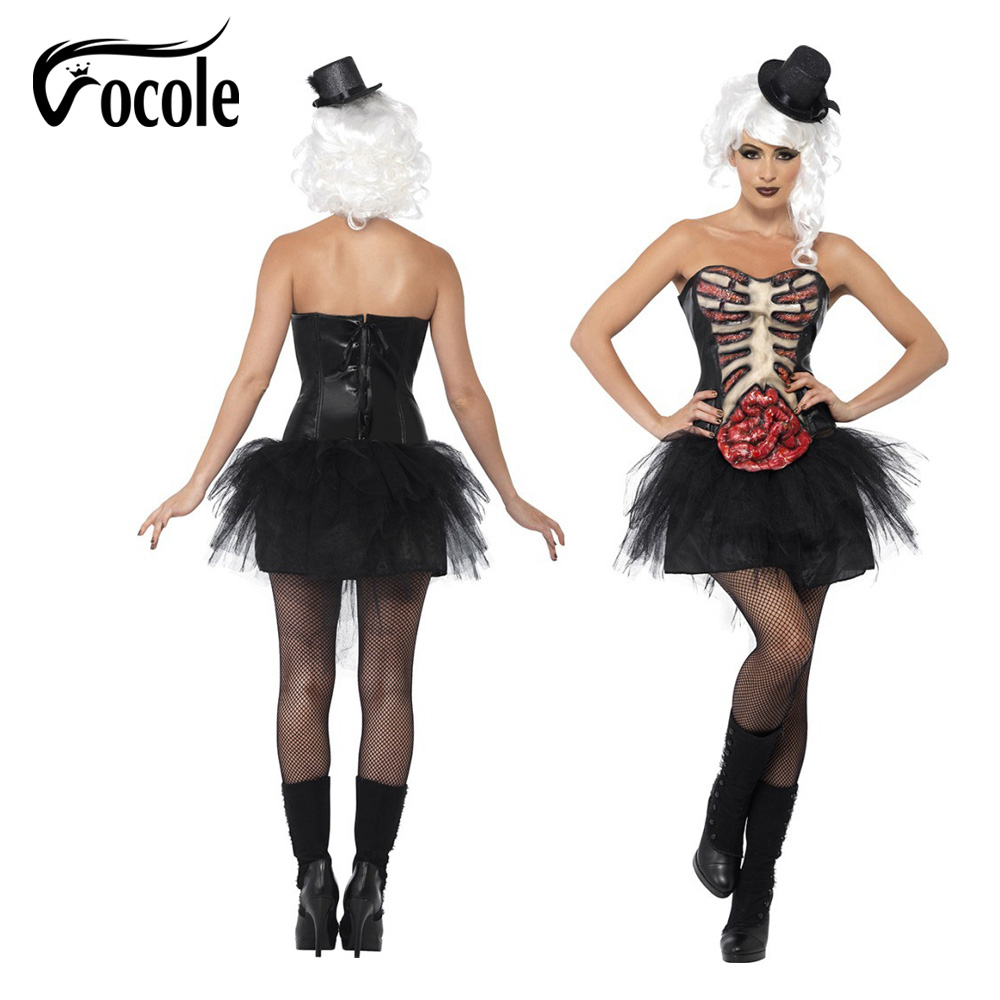Vocole Sexy Women Zombie Cosplay Costumes Tube Top Shirt Mini Dress Skeleton Terror Halloween Carnival Masquerade Fancy Dress