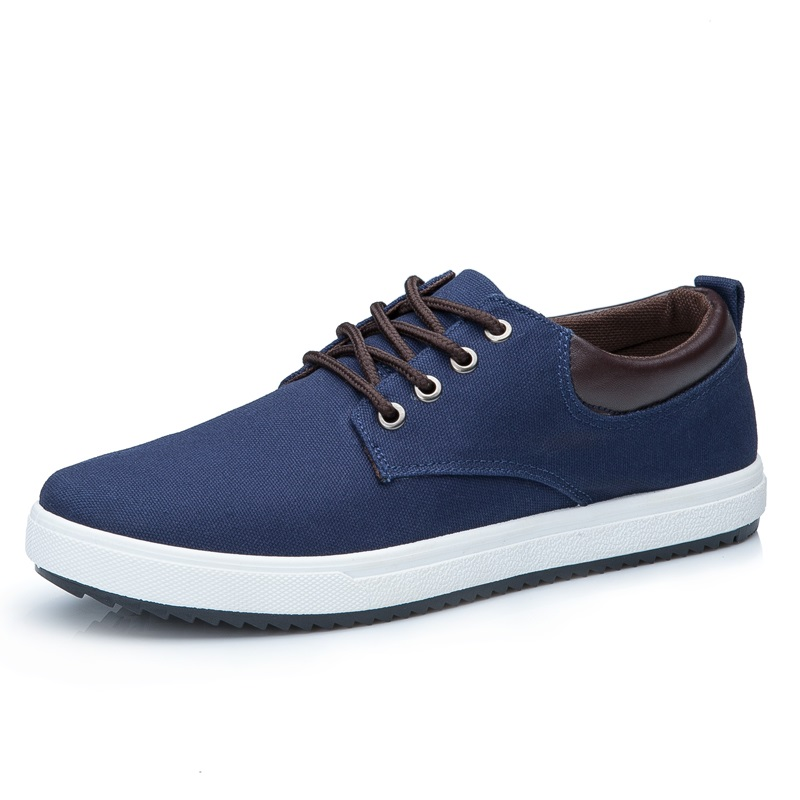 Men Shoes New 2017 Spring Canvas Casual Breathable Round Lace-Up Flats British Style Mens