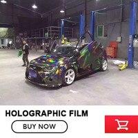 Premium 3 Layers Black Chrome Holographic Vinyl Wrap Rainbow Laser Vinyl Film Bubble Free Car Sticker Size:1.50*20M