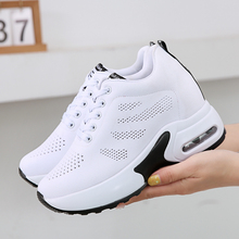 Breathable Flying Knitting Women Sneakers Hide Heel Fashion Platform Casual Shoes zapatillas mujer XZ136