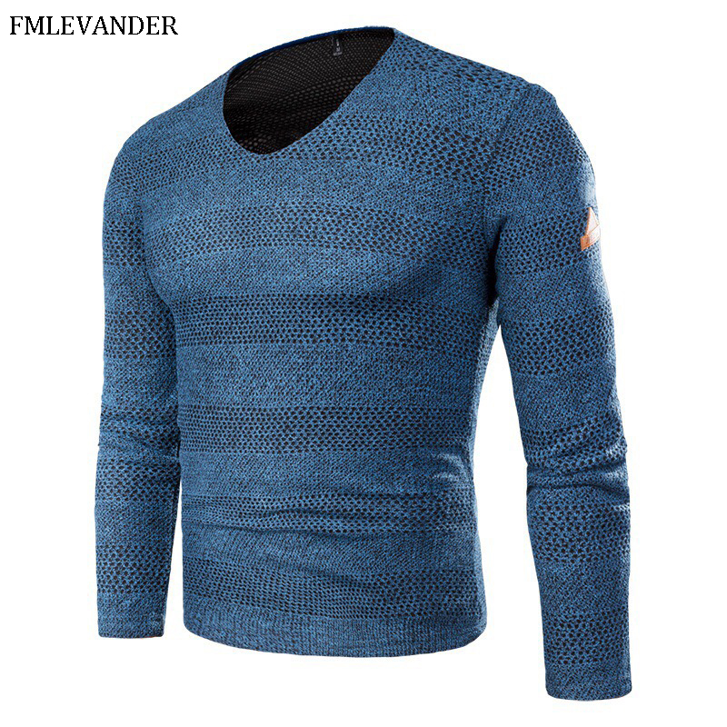 Plus Size 6XL Large Sizes Patchwork V-neck Pullover Wool Male Sweater pull homme