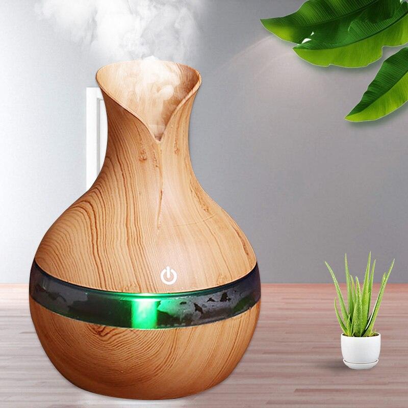 Humidificador de aire USB 300 ml 200 difusor de aceite esencial atomizador humidificador ultrasónico de grano de madera difusor de aromaterapia