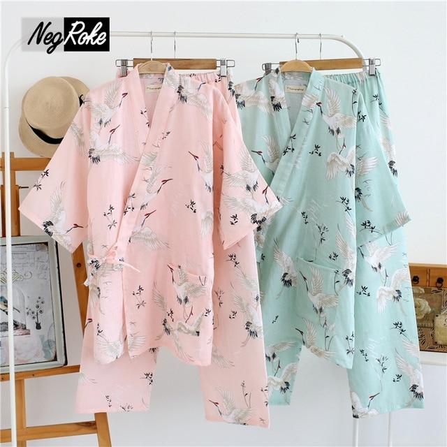 New spring simple fresh 100% cotton crane japanese kimono robe womens pajamas sets sleep lounge bathrobes yukata for women