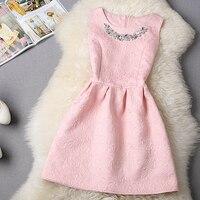 New 2015 Fashion Aristocratic Temperament Self Cultivation Pompon Women Dress Code Casual Vintage Sleeveless Dress Plus