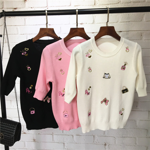 2017 Summer Style Women Slim Sweaters Small Items Embroidery Woman