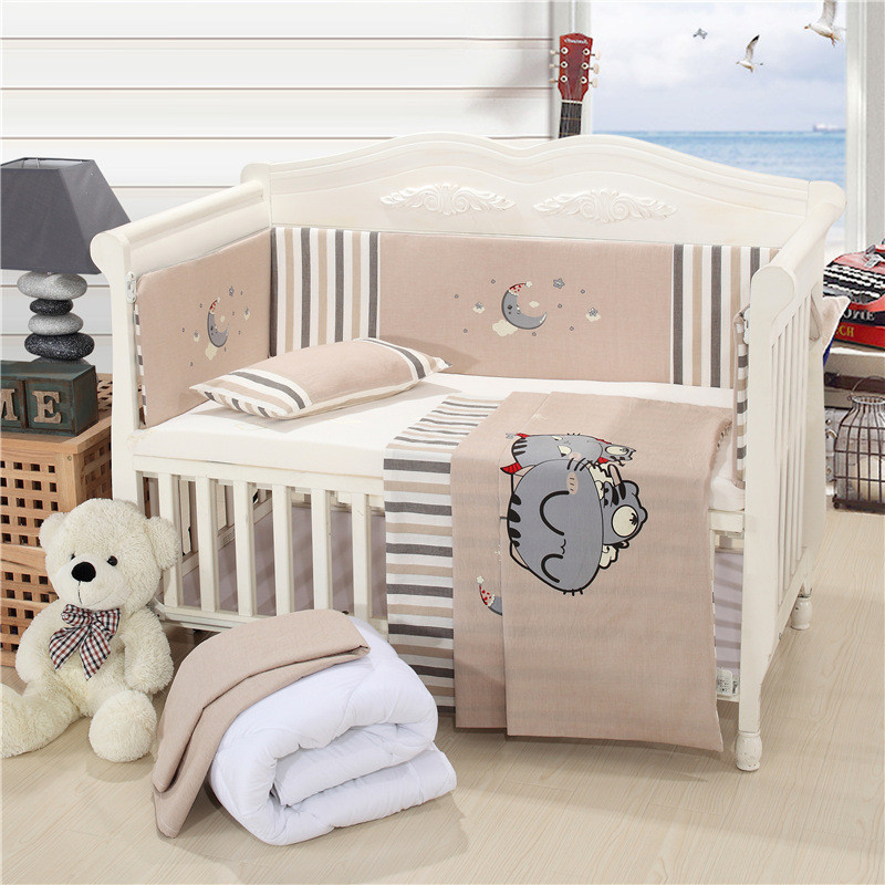 Brand New Mattress+Bed Sheet+Pillow+Bumpers+Quilt +Pillow Core+Quilt Core Crib Kit Detachable Baby Cotton Bedding Sets11