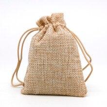 50pcs/Lot 7×9 Linen Bag Drawstring Wedding&Christmas Packaging Pouchs & Gift Bags Small Jewelry Sachet &Mini Jute bags