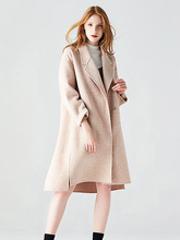 High Quality 2019 New Woolen Coat Woman Double Sided Cashmere Jacket Loose Herringbone Pattern Coats Autumn Winter