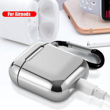 For AirPods 2 Case Luxury Plating Soft Silicone TPU Earphone Cases Apple Airpods Cover Funda with Finger Ring Strap