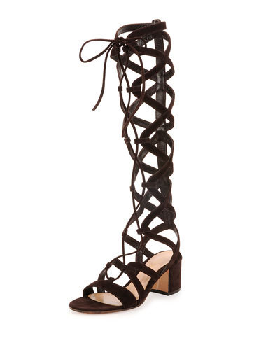 884fa417d250 Tall suede lace up gladiator sandals mid heel strappy boots sandal 35-42