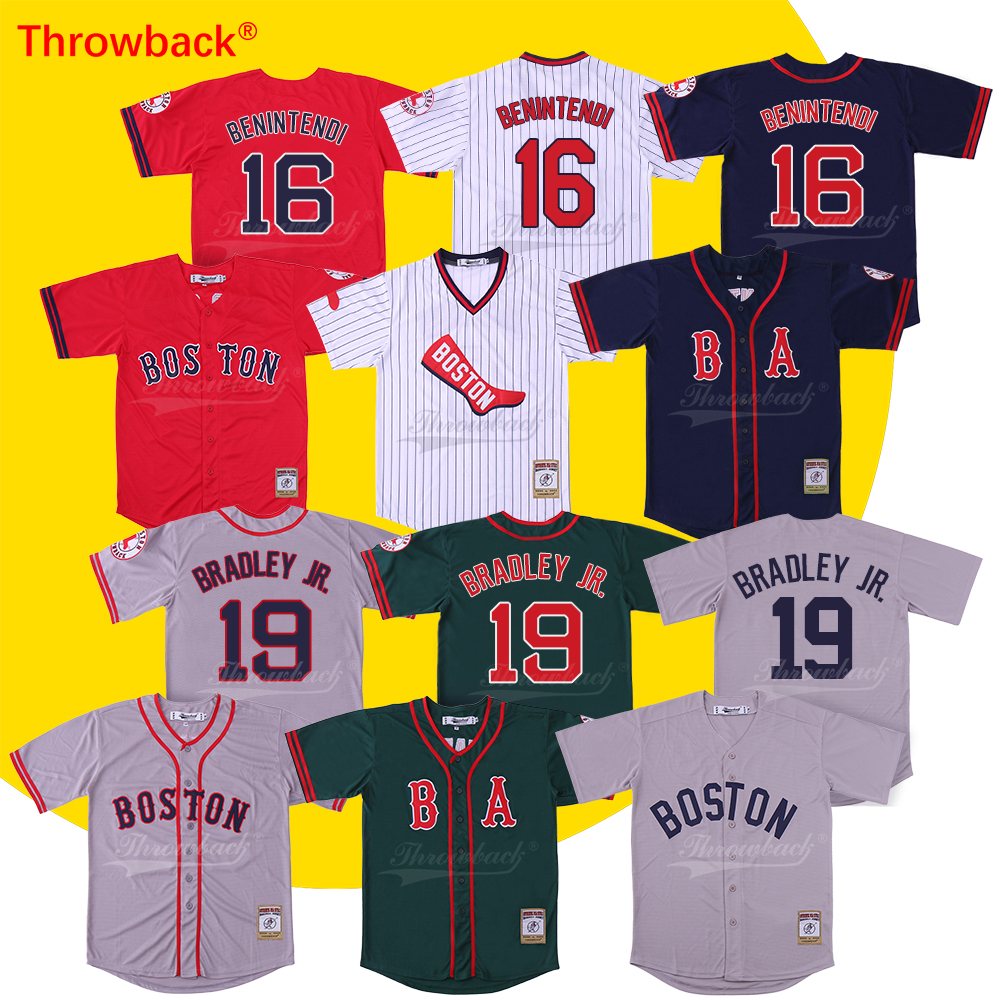 Throwback Jersey Men's Boston Jersey 19 Jackie Bradley Jr. Jersey 16 Andrew Benintendi Baseball Jersey baseball jersey 52 baez pedro baez jersey