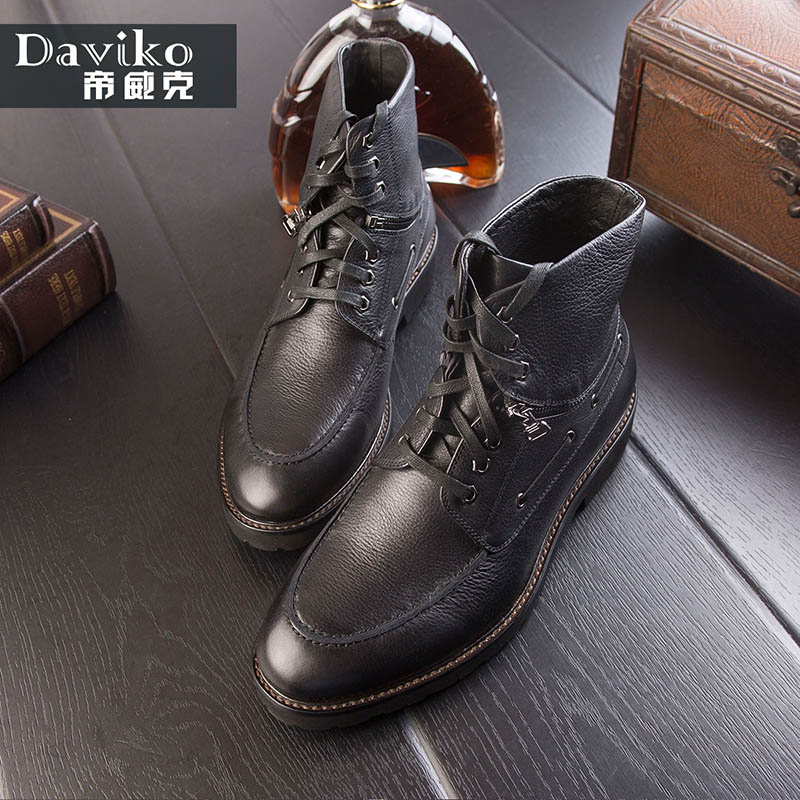 DAVIKO Autumn and winter men boots leather trend Martin boots men trend fashion boots leisure high to help shoes men AD805-31