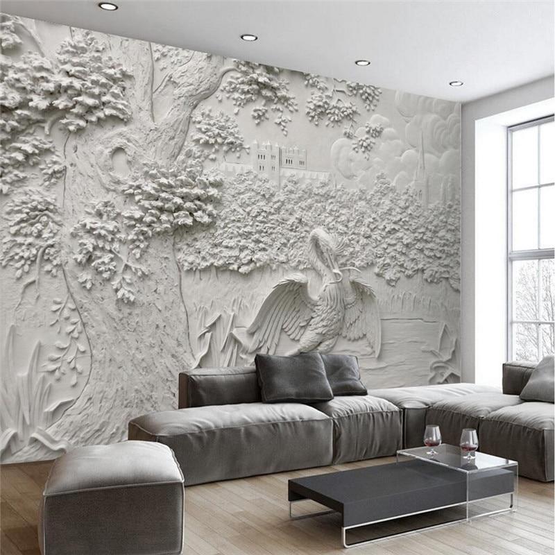 US $15.5 |Benutzerdefinierte Jeder Größe Moderne Tapeten Wohnzimmer  Hintergrund Weiß Reliefs Kran Baum Kunst Wandverkleidung Wohnkultur  Wandbild ...