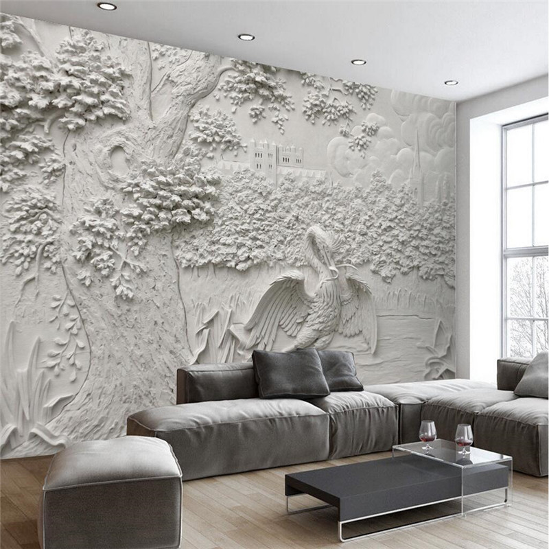 Custom any size modern wall paper living room background for Custom mural wall covering