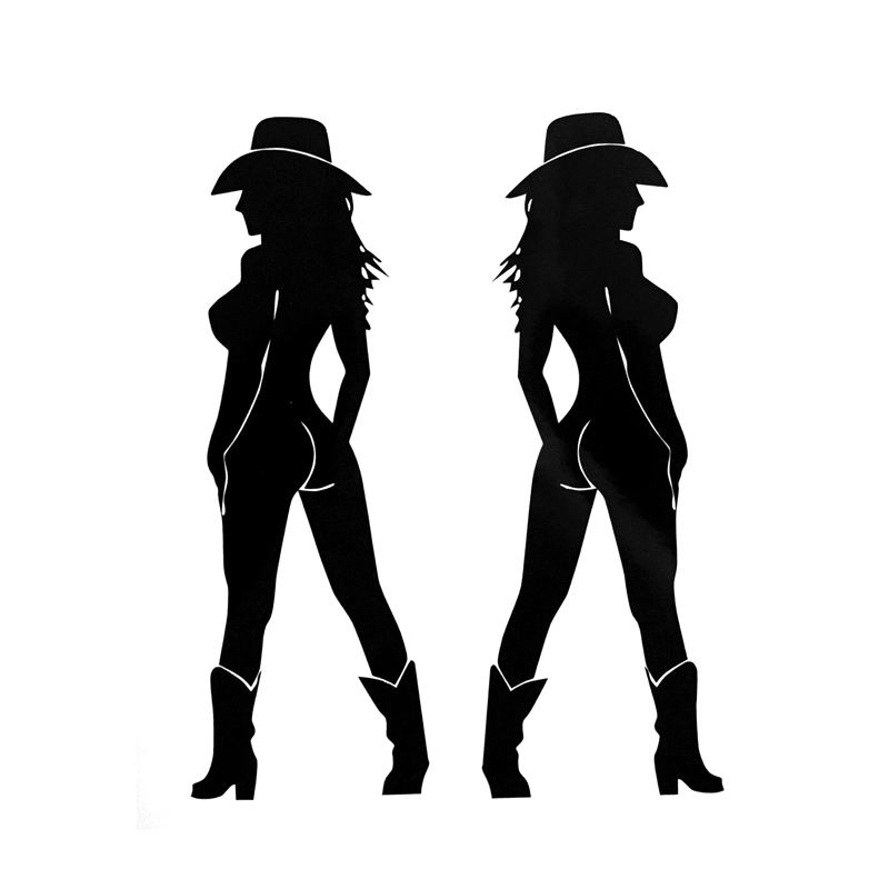 12 8 16 5cm Two Sexy Cowgirl Car Stickers Funny Covering The Body