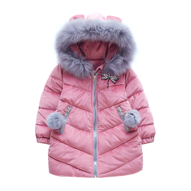 Kids Thicken Parka Coats For Girls Cotton Padded Outerwear Fur Hooded Winter Jackets For Girls Clothing 2 4 6 7 8 9 10 12 Years женская утепленная куртка shang feier 4055 2014women winter cotton padded jackets coats slim parka