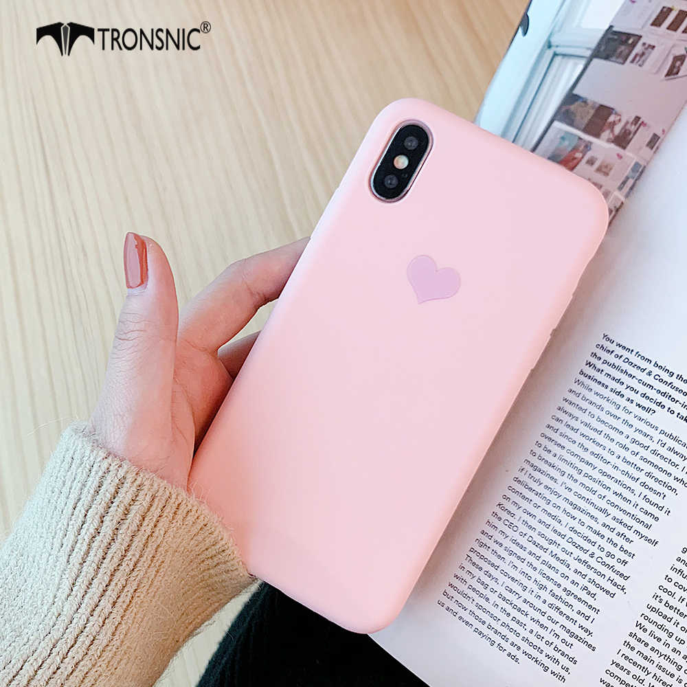 online store 431de 818a1 TRONSNIC Love Heart Phone Case for iPhone X XS MAX XR Luxury Matte Pink  Yellow Case for iPhone 6S 7 8 Plus Purple Silicone Cover