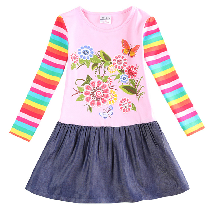 girls dress girls clothes flower baby girl clothes dress long sleeve stripe kids clothing autumn dress for girls new H5803