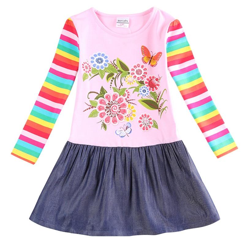 girls dress girls clothes flower baby girl clothes dress long sleeve stripe kids clothin ...
