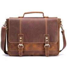 Messenger Bag for Men Genuine Leather 14 Inches Laptop Business Briefcase Shoulder Large Capacity Travel Flap Handbags Neweekend