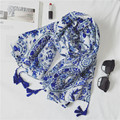 10Pcs/lot Porcelain Floral Tassel Viscose Shawl Scarf Bufandas Mujer 2016 Spain Printed Cotton Voile Headband Wrap Muslim Hijab