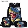 Рюкзак для мальчиков с объемным рисунком динозавра  3 шт./компл.  Mochilas  школьный рюкзак для детей  Студенческая Повседневная сумка  большой рю...