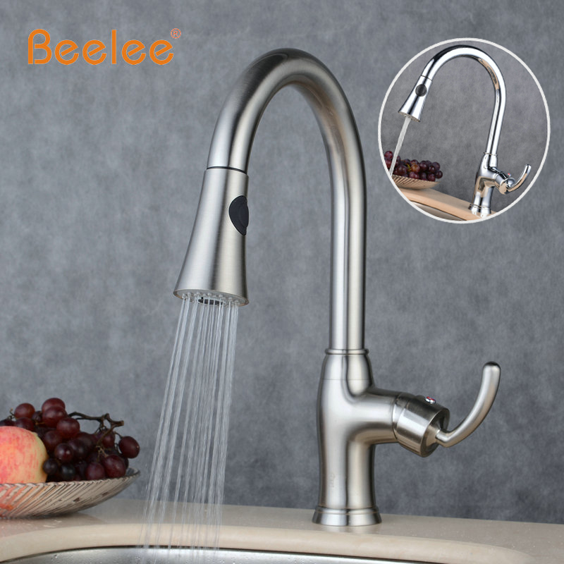 2017 Free Shipping New Cozinha Design Pull Out Faucet Chrome Silver Swivel Kitchen Sink Mixer Tap