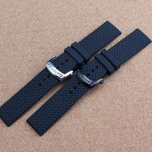 Nueva llegada de Goma correa de reloj de Acero hebilla de despliegue para hombre 23mm Negro correa de reloj banda relojes de pulsera de lujo marca broche