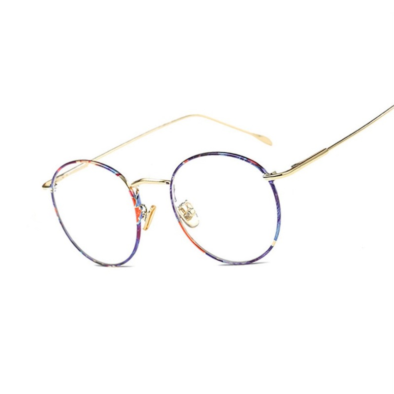 bac21dbabb retro eyeglasses frames ultra light alloy Spring thin metal legs circular  myopia spectacles frames female male eyewear WIDTH-134
