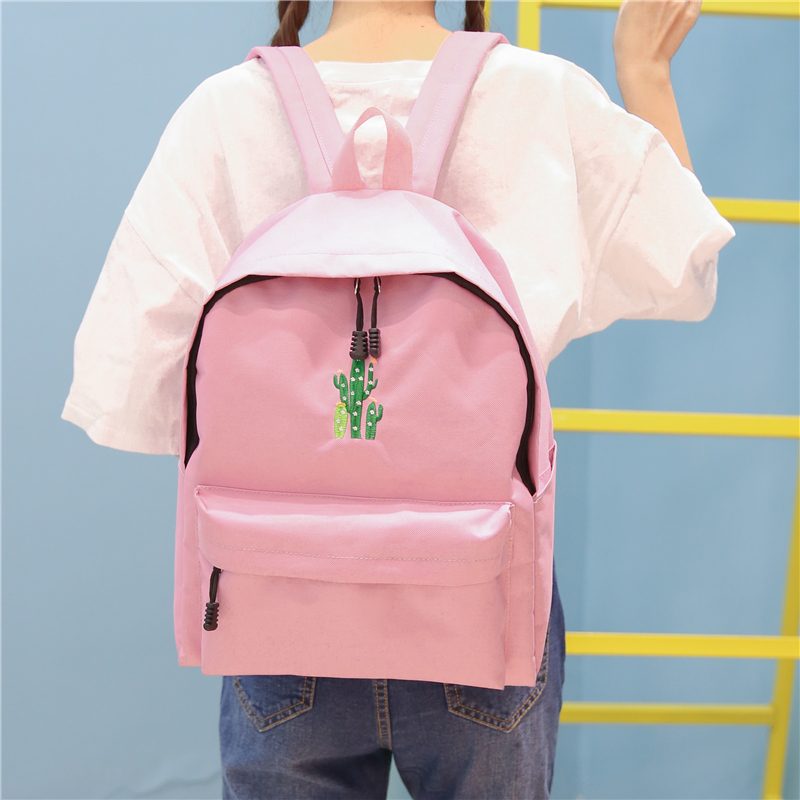 New Cactus Embroidery Simple Canvas Backpack Students School Women Girl Rucksack Mochila Escolar Women Backpack (44)