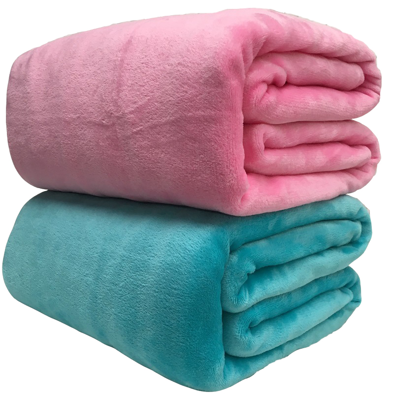 Super Soft Coral Fleece Blanket 220gsm Light Weight Solid Pink Blue Faux Fur Mink Throw Sofa