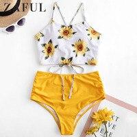 ZAFUL Bikini Ruched Sunflower Overlay Tankini Set Cut Out Spaghetti Straps Swimwear Women Sexy Swimsuit Push Up Bikini Femme