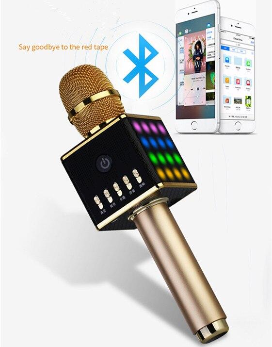 Microphone de karaoké Portable sans fil H8 avec haut-parleur lumineux LED Machine Bluetooth pour Smartphone
