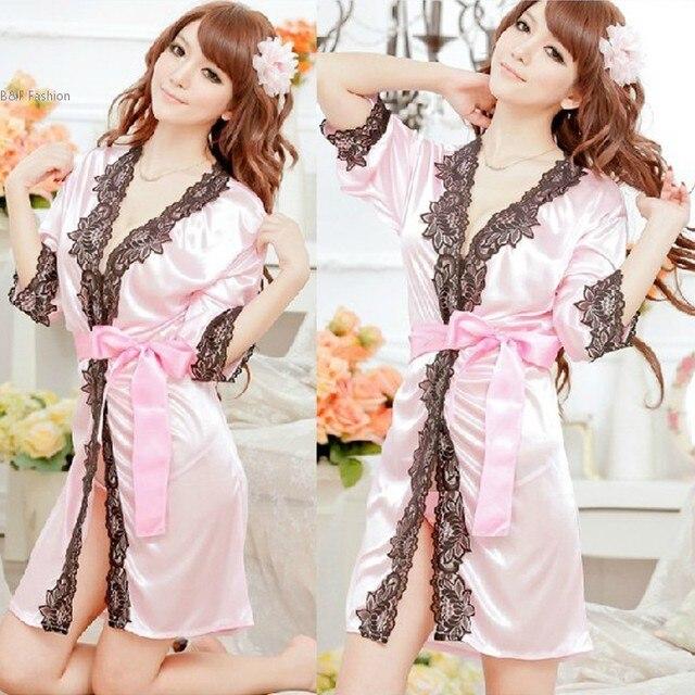 Women s Sexy Lingerie Lace Robe Pajamas Nightgown Night Dress Nightwear+ G- String Babydoll Set 733510ec7